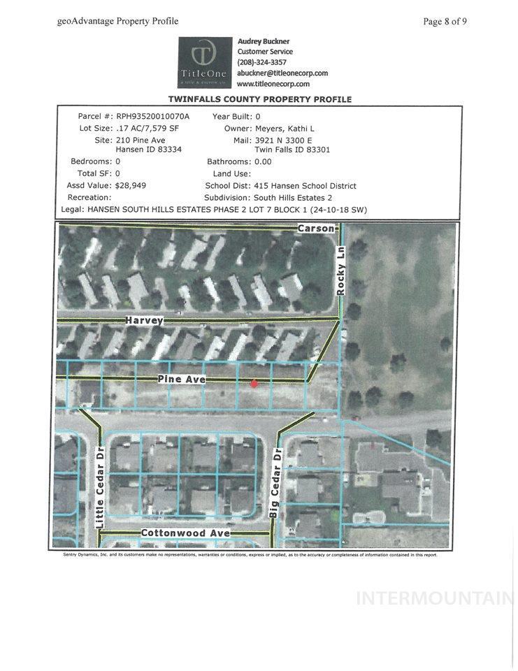 土地 为 销售 在 TBD TBD TBD TBD Hansen, 爱达荷州 83334
