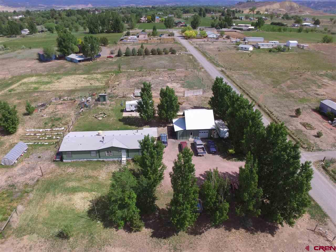 Sustainable Country Living with Sweeping Grand Mesa Views!  Intelligently set up on 4.86 acres with a beautiful 1768 sq ft home, 2 story 960 sq ft garage/shop/office, an equipment shed, greenhouse and an amazing array of producing fruits.  Surrounded by an 8' deer fence, you'll find 5 rows of four varieties of raspberries, 90 grapevines boasting multiple seedless varieties and a seeded wine grape, plus blackberries and blueberries, all organically grown.  Fruit trees include bing cherry, Jonagold apple, apricot, plum and peach.  The property is equipped with animal pens and a chicken coop, with room to pasture.  Irrigation water through the HOA, with senior rights including interest in two reservoirs which allow for late water, and a covered irrigation pump house.  The 4 bedroom 2 bath home has been freshly painted and carpeted, with newly installed oven and dishwasher, and updated countertops.   The wood stove can efficiently heat the entire home.  Located near Hart's Basin, with wonderful views of the Mesa and valley, the groundwork has been laid for wonderful high country living.  Welcome home!