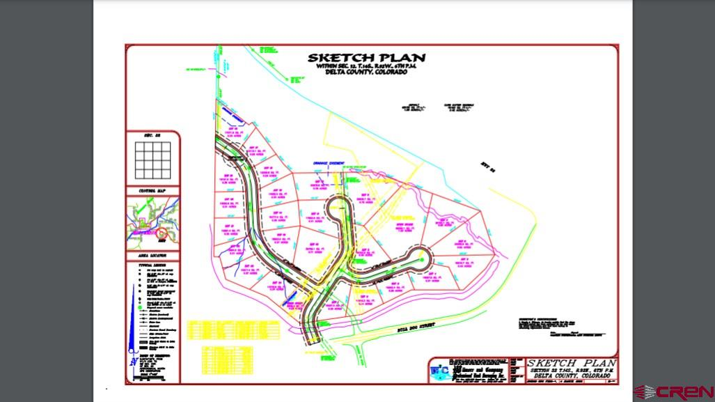 Sketch plan for this possible subdivision has been done.  Walking distance to the swimming spool, baseball fields, and mountain bike trails, as well as the new North Fork High School, for those exciting games.  There is a Town of Hotchkiss water tap and sewer tap included and more potentially available  for purchase.  It is in the commercial zone of Delta County allowing for subdivision, with county approval. This is a bargain...make an offer.