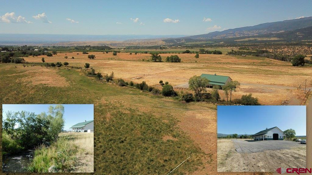 """Almost 43 acres with live water in a beautiful setting. This ranch property is located 2.4 miles northwest of town in a highly coveted area, on a quiet dead end road. The views are amazing! Ideal for livestock or horses, with water from Grand Mesa flowing through the center of property from north to south. There is plenty of shade on the south end of the property for those critters to cool off under, with water running through the center of the trees. There is high end perimeter fencing and top of the line gates on the north entrance and the south end. all road to this location are paved and maintained by the county. There is irrigation water rights (with improvements) that originated in the Lake Fork ditch (about 1/3 mile to the east) that is piped underground (12""""pipe) to a concrete screen/filter box and then again underground to the NE corner of the east pasture. The east pasture is totally irrigated with 6"""" gated pipe. There is also some underground piping to the west pasture that has yet to be connected to this filtered source. Irrigation water rights include; .50 to .75 cfs of decree 23 early spring runoff water; 1 share of Lake Fork ditch, 3 shares of Surface Creek Ditch and Reservoir Co., and .50 +/- cfs of decreed tail water from the property just north of this parcel. Plus, there is also irrigation water available for lease/rent if needed. Also running water on the west edge of the property known as Rosebery ditch which typically runs seasonally. A top of the line Mortan equipment building (approx. 38'x 55') with 6000psi concrete floor, 120 pound pound snow load, 120 mph wind load and two entrance doors with one large electric operated overhead door. A very good domestic well and a 1000 gallon septic system have been plumbed into the building. There is a drain and vent piping installed in the concrete floor, located in the SW corner of this building, for a future bathroom. Underground telephone and electricity (200A) to the building with natural gas and fi"""