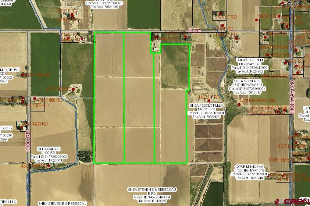 Unequaled ag land on California Mesa.  107.55 acres of irrigated ag land in 3 35.85 acre lots.  Irrigation water is Priority Water for Lots 1 & 2 and 35.8 shares of UVWUA for Lot 3.  Concrete & open ditch irrigation system.  In the past, several crops have been grown on the acreage - hemp, corn, hay & beans.  Utilities are at F Road.  California Mesa ag land is rarely available.