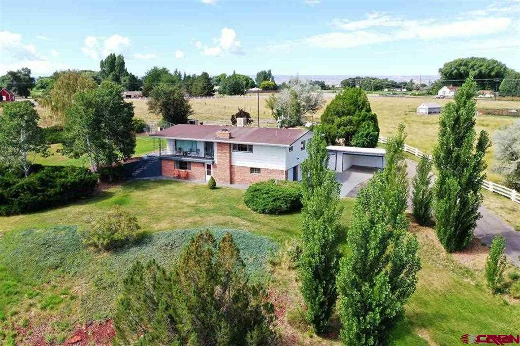 You will be amazed when you get a look at this fantastic 4.5 acre property.  2-story, very spacious and well kept home.  Features a walk-out basement and a striking view from the living room.  Sit and relax in your recliner, while admiring the Grand Mesa or set out your front door and take a gander from the front deck.  Formal dining room off the kitchen, and a breakfast nook in the kitchen.  Covered patio off the kitchen.  Large master bedroom, with bath and walk-in closet.  Second bedroom and bath on main level.  Third bedroom and bath on lower level, along with an incredible family room with a fireplace.  Mud room and a nice sized laundry room as well.  2-car attached garage.  Many updates!  Work shop/storage shed and a single carport for extra parking.  Another metal storage shed and a three sided shed for your animals (cattle panels included).  Pasture land, with a natural spring that feeds the pond.  Irrigation water included.  Includes a chain link dog kennel.   This property has it all!! Schedule a showing today!