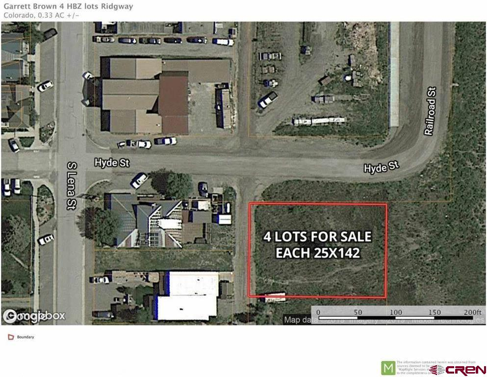 Ridgway is hot! Nothing is hotter than vacant building lots in the town core-with prices drastically increasing over the past year. Never before have we seen such interest in properties in the town core!  Pre-built homes are GONE! This is an opportunity for you to own four independently deeded, independently buildable lots right in the town core.  You'll absolutely love the location-right by Mountain Market, Drakes Restaurant, the Hardware Store, and adjacent to the Alpenglow Co Housing Community.  Incredibly flexible zoning allows residential, commercial, multi-family, condos, townhomes-you name it.  It's part of a well-established and tested Historic Business Zone area, which allows almost no setbacks on the front and back and lot line to lot line coverage on the sides.  Many of the buildings in the town core of Ridgway and Ouray have been built on these lots, which are 25x142  in size, and allow up to 35 heights.  Think of the lots individually or as a 100x142x35 foot box.  Have you thought about building a smaller place, with a garage in back and apartment above?  This could be perfect.  Maybe you've considered creating an apartment building of 16 units?  This works too.  What about a hotel?  Perhaps a combination commercial space below with residential lofts and rooftop patios above?  All are ideas that fit the zoning.  When you do the math, you'll see that these parcels, located to take in big Cimarron and Down-Valley views, have all the capabilities you need to meet your Ridgway Colorado dream!  Call for more information and to kick around ideas.