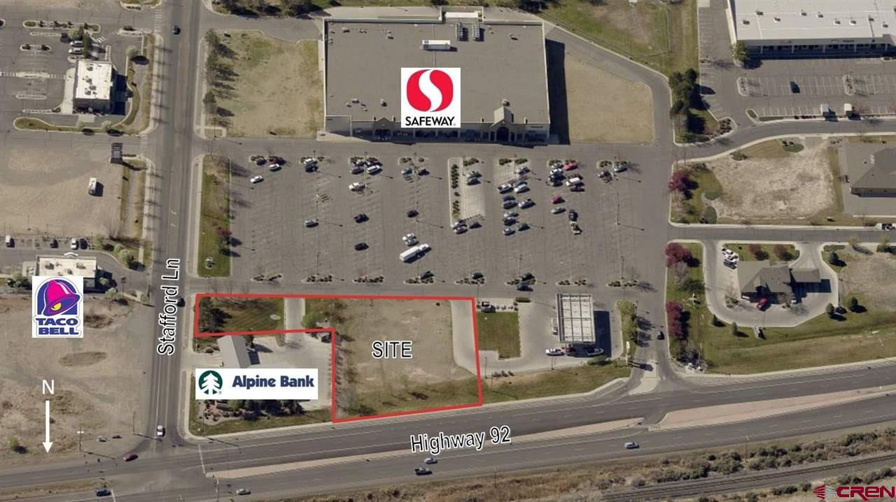 Outparcel for sale just north of Safeway and west of Taco Bell in Delta, CO.  Select a site that is located directly along Highway 92 with average daily vehicle counts over 14,000 cars per day.  The visibility will translate into immediate recognition in the community.  Situated between two of Colorado's most respected banks, Alpine Bank and the Bank of Colorado, this location has drive-thru traffic all day long.  Walmart sits just south of Safeway pulling traffic along Stafford Ln just to the west.