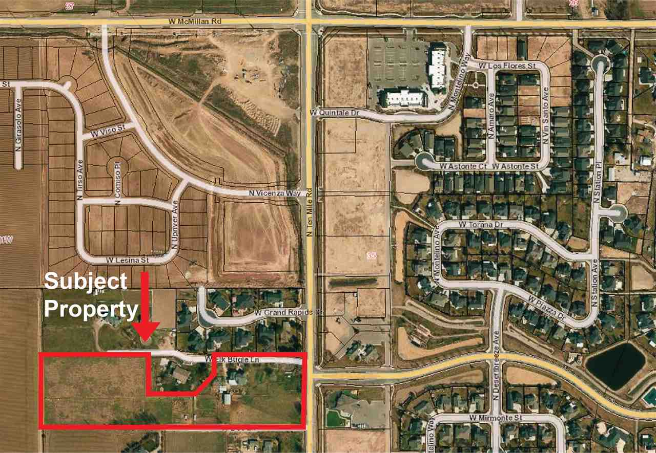Prime development opportunity in the heart of NorthWest Meridian. Located just 1 mile south of the New Costco location at Ten Mile & Chinden. Current zoning is RUT. Comp plan has South side of property touching Mixed use Non-Residential and previous comp plan was mixed use non-residential. Could be great for all storage or commercial/office up front and storage in the rear. Roughly 1.5 acres and a 7,000 square foot home not included in the sale price but available to purchase in addition to the 7.5 acres.