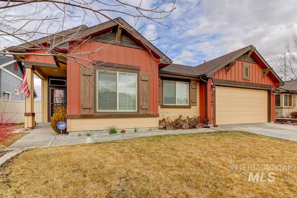 Wait until you see this super cute single level, split bedroom floor plan with builder upgraded finishes. This 3 bedroom, 2 bath has an open and bright floor plan with vaulted ceilings and Quartz countertops.  Just spruced up with fresh interior paint and a new stove. Additional amenities include ADT Alarm System, Central Vacuum with attachments, Water Softener and Epoxy garage floor. North facing backyard with oversized 20x18 covered patio with shades & firepit.  Great views of Squaw Butte and Bogus Basin!