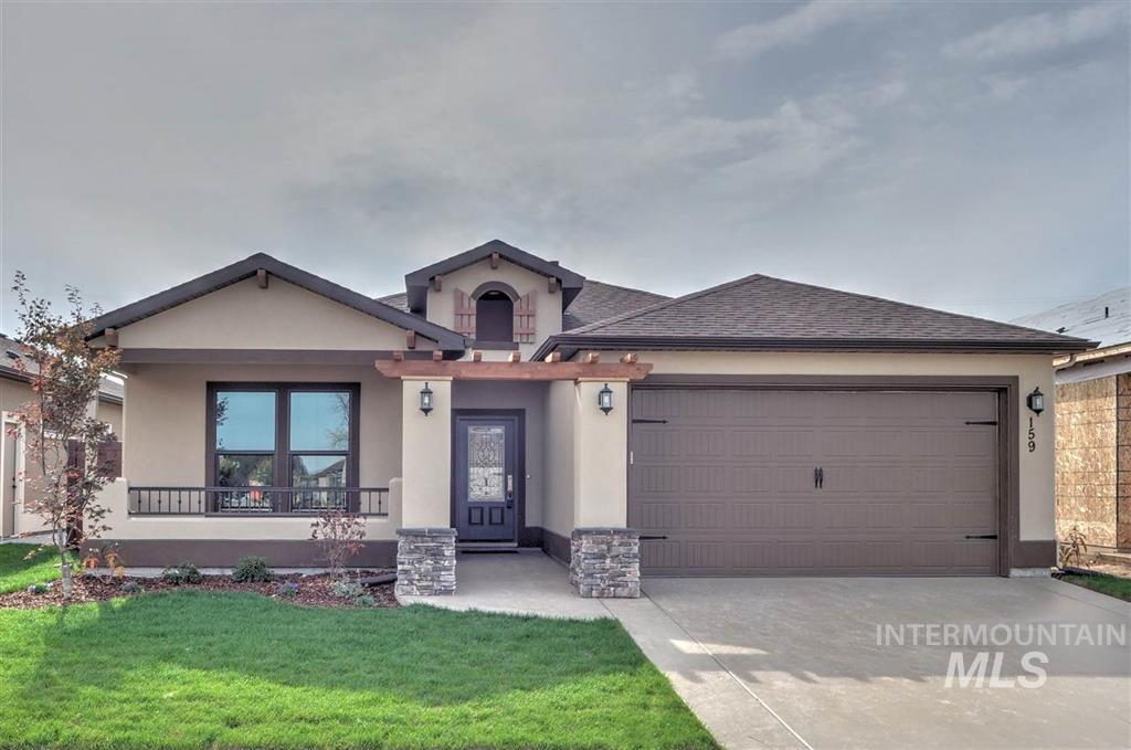 Stylish Chelsea plan by renowned Ted Mason Signature Homes. Indulge yourself w/rich interior finishes & full stucco-stone exterior. Front porch, covered patio + fully landscaped. Extremely energy efficient with HERS score. Active Lifestyle? You'll love the huge community clubhouse & fitness center-among the finest in the Treasure Valley with pool & grand space for entertaining. Full exterior landscaping maintenance included in HOA-$350/qt.