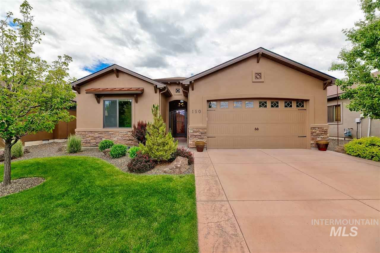 """Foothills view w/ no rear neighbors. Stucco and stone exterior with inviting landscaping. Private entry gate. Open floor plan. Hardwood, tile, and carpet flooring throughout. Coffered ceilings, custom cabinetry and doors, granite island w/BB and tile bkspl. Exterior landscaping provided by HOA. Recreation center w/ fitness facility and pool. Please see """"D"""" tab for all the upgrades featured in this home."""