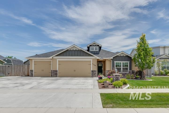A beautiful, west facing home that radiates with curb appeal. This residence greets you with an open floor plan featuring a fireplace, tile backsplash, stainless steel appliances, a center island, and lots of natural light. Other highlights include hardwood floors throughout, a mudroom with laundry sink, and a spacious master suite that opens to the back patio. Outside is fully fenced featuring an insulated shed with power, a covered back patio with surround sound and RV parking. A must see!