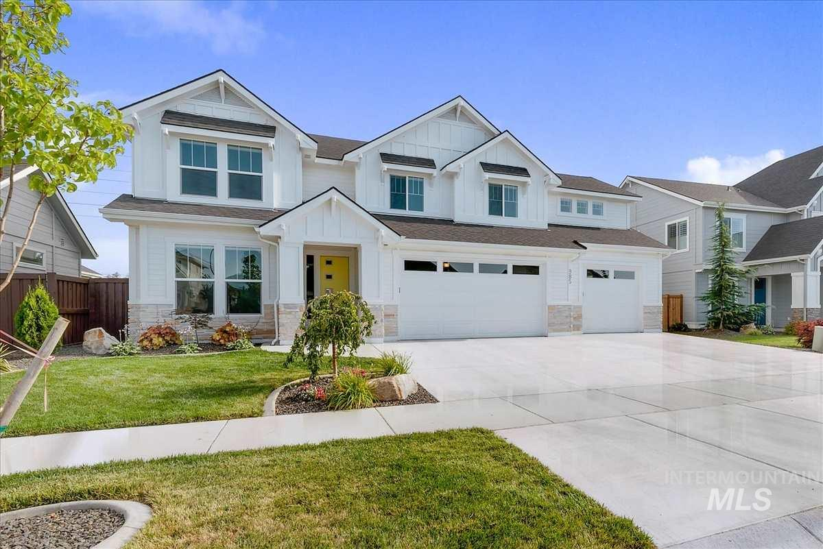 Live well in this impressive, generously spacious home in desirable Paramount Sub! The open floor plan includes 5 bdrms–one w/ full ensuite on the main level–plus an office & bonus rm! The sleek gourmet kitchen has SS appliances, gorgeous Quartz counters & flows into great rm w/ stylish stone fireplace. Abundant windows fill the home w/ natural light & covered patio extends the livability outside to the large backyard. Immaculate & smartly designed w/HERS Index score!  Dual HVAC. 4 community pools/6 parks!
