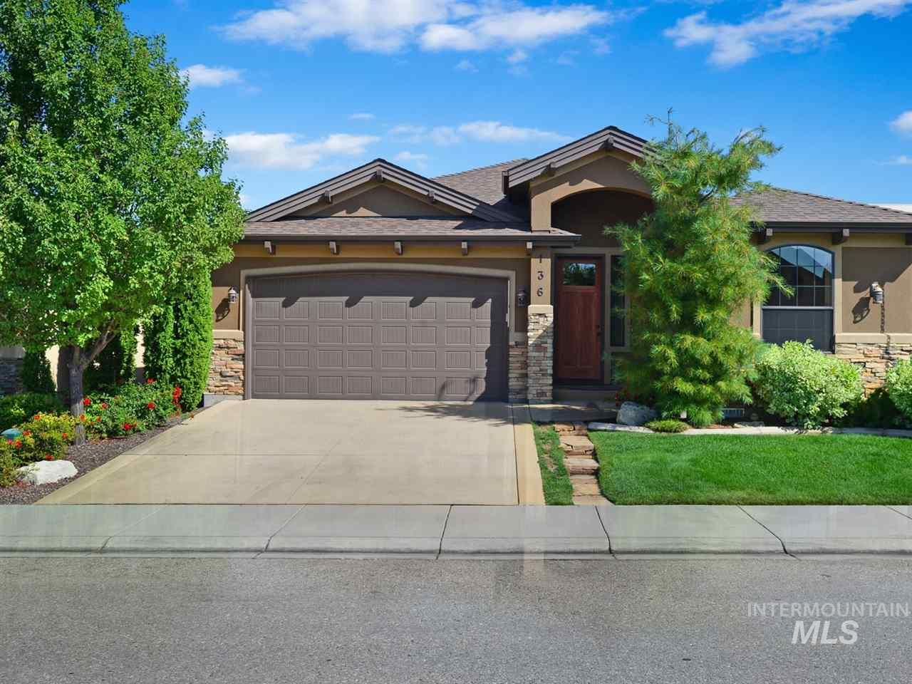Upscale single level in mission inspired community. Exterior landscape maintenance provided by HOA. Open floor plan, fabulous kitchen & baths, custom wood shutters throughout, no homes behind. Beautiful rec center with large pool. Large 3 car tandem garage. Spotless home, like new!