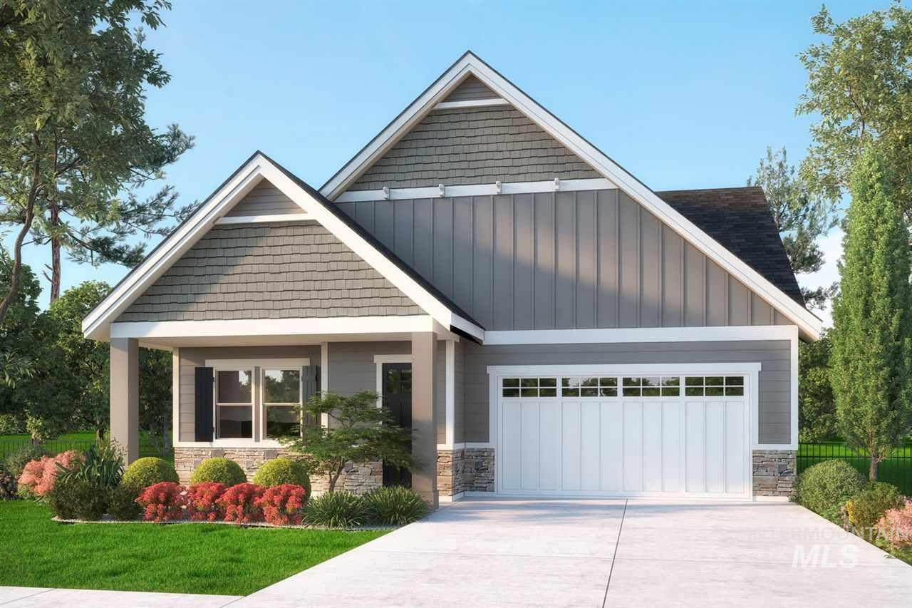Welcome to The Village! New boutique 55+ community; Ideal home designed for down sizing with upscale living in an open floor plan boasting 10' ceilings, coffers & abundance of windows. A gourmet kitchen features custom cabinets, pantry, Bosch appliances w/island for gathering around. Spa like Master w/stunning oversize walk in tile shower, large bench & window, large patio off the dining room makes for perfect outside