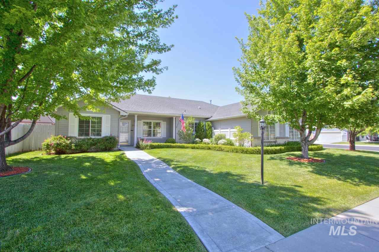"""Welcome home to this single-level stunner in highly sought after Meridian! Situated on huge corner lot, split bedroom design + office affords roomy living. Great room opens to fully remodeled kitchen w/ island & new stainless steel appliances. Escape to your personal oasis in the Master Suite w/walk-in closet, dual vanities, tub, and exclusive separate entrance to backyard. Low maintenance yard w/ shed and 3-car garage provide plenty of storage space. 36"""" hall and door frames are handicapped accessible."""