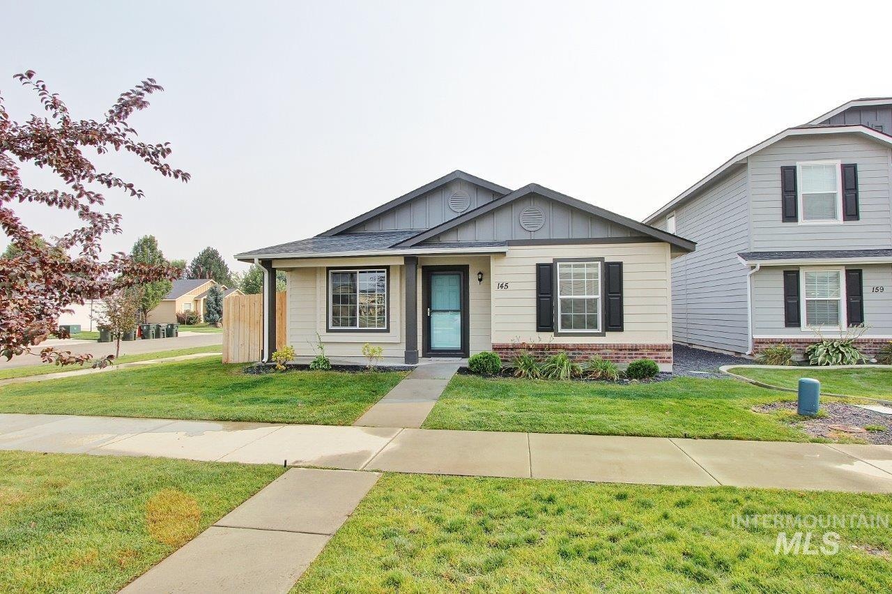 Come see this wonderful 3 bedroom, 2 bath, 1311 sq ft home nestled in the beautiful City of Meridian. This home was built in 2016 and is in great condition w/ brand new thick carpet, Lennox HVAC system, wood style flooring in kitchen/eating area, large walk-in master bedroom closet and covered back porch. This home sits on a corner lot with no neighbors on the east side and has tremendous curb appeal with it's stylized front porch, wood siding, brick facade and wood style shutters. Refrigerator is included.