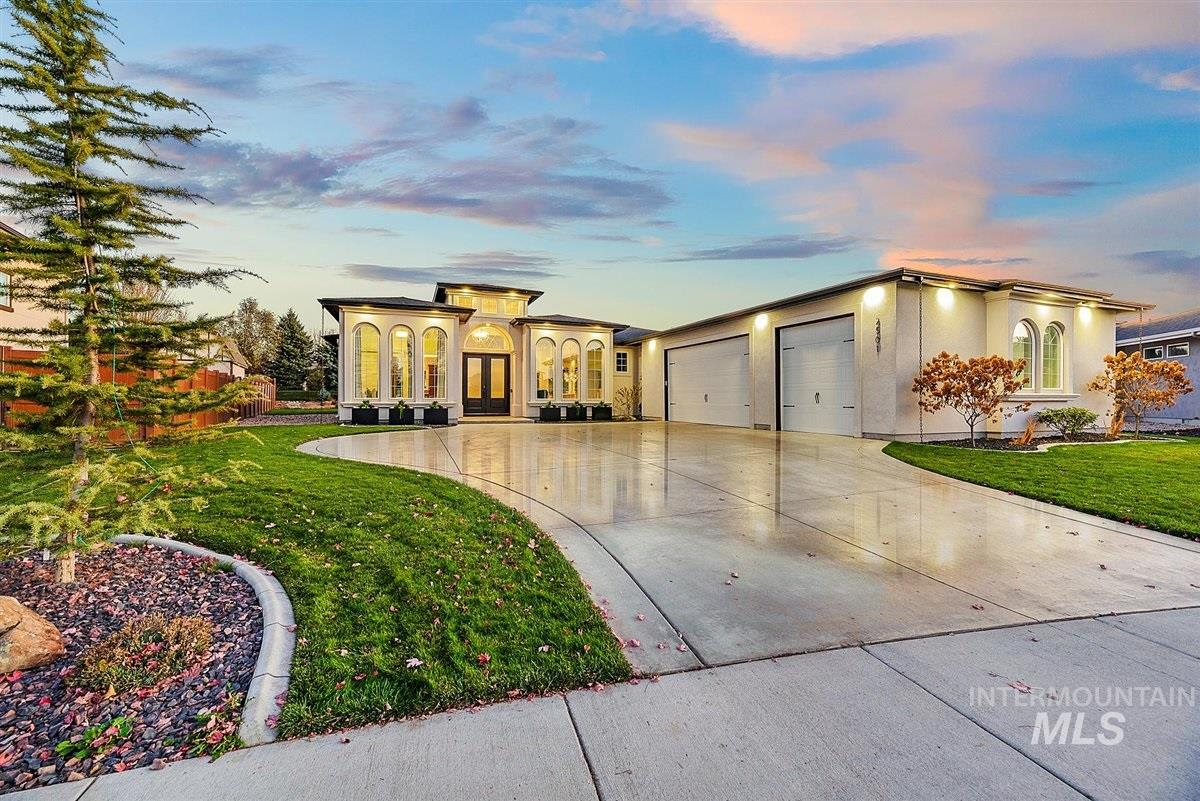Stunning single-level, custom built home in Sky Mesa! On nearly .5 acre, across the street from the community pool, this modern home is a must-see! The open floor plan with soaring ceilings has endless natural light, with white cabinetry, granite countertops and stainless steel appliances in the kitchen. So many upgrades with reverse osmosis system, water softener, new garbage disposal, Lift tv mechanism, extra room has surround sound and built-in closet, epoxy floors in the garage and back patio.
