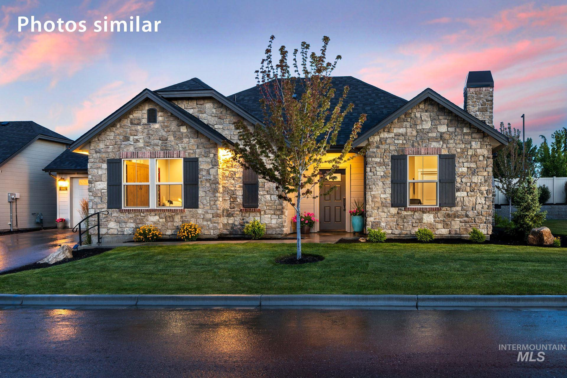 Geneva - single level ATTACHED-patio home   Blackrock Homes. Brand new completed home attached only at the garage, no living space attached. You'll love the vaults, hardwood floors, stone surfaces, walk-in pantry & patio. S. Meridian's Luxury Gated Community offers access to a stunning 2,600 sf Social House (clubhouse), w/ landscape maint., snow removal, long-term exterior repaint & roof replacement. Photos are similar, actual model has custom Driftwood stained cabinets, gray quartz & views of common area.