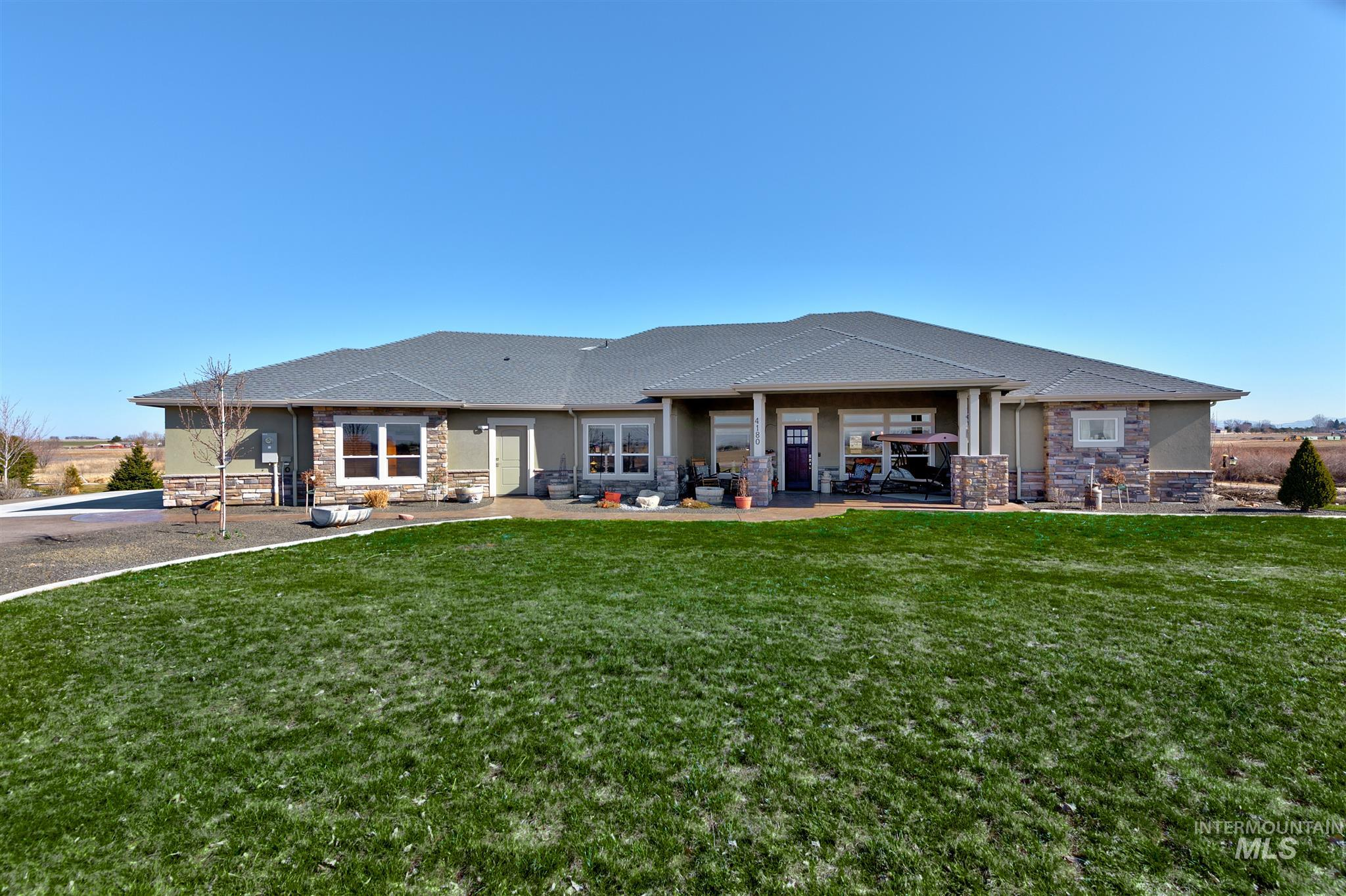This is a beautiful 4205 sq ft. country home on 1.85 acres with a view of owhee mountains and bogus basin.  house was built in 2020 on a private lane. house shares a pond and has a creek that runs through the property, has a large master suite, theater room, 2 kitchens, and lots of parking. btva