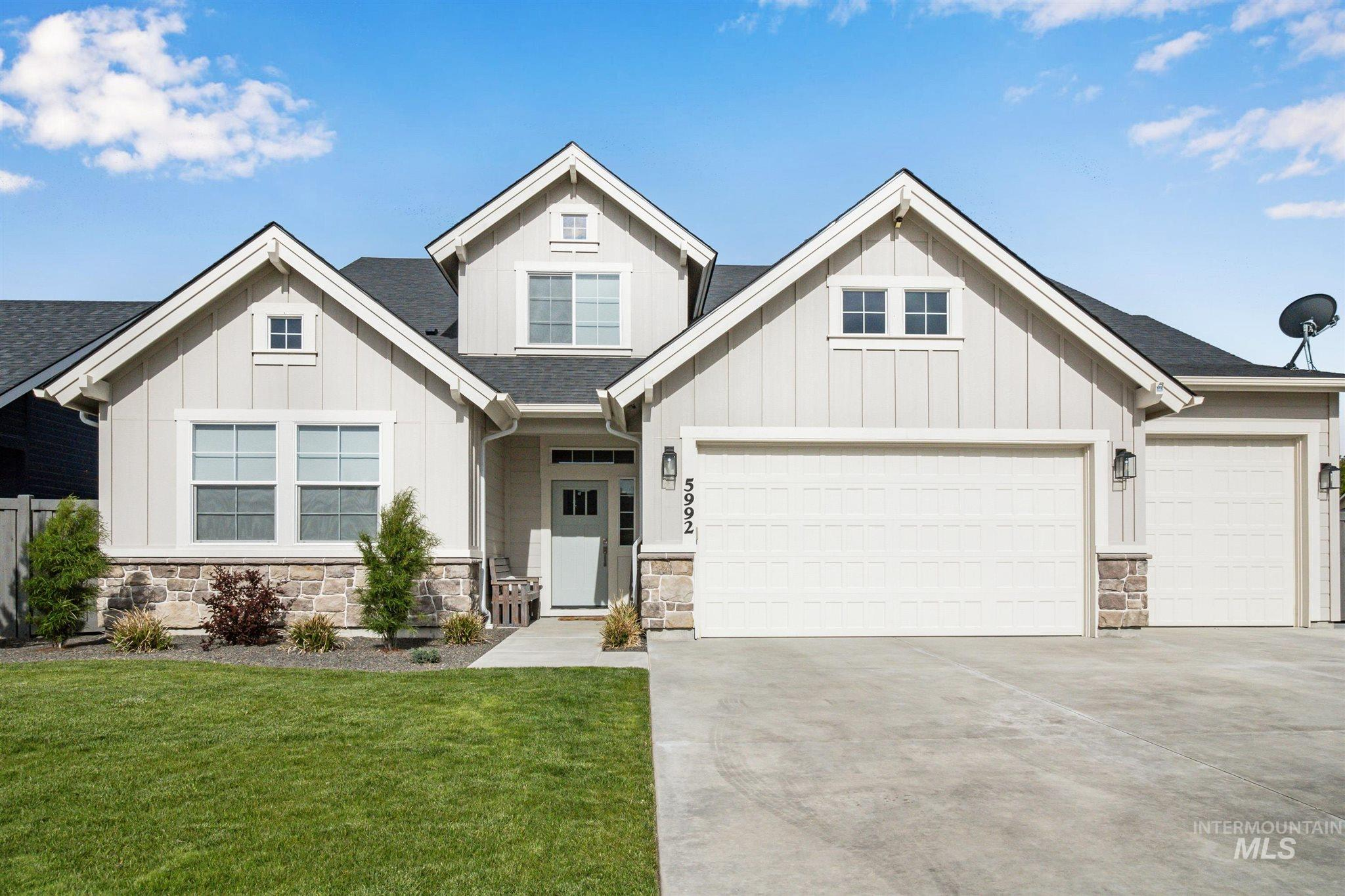 STUNNING 2 year old Alturas home in Century Farm, close to YMCA and future Albertsons! Features modern fixtures, spacious loft that can be converted to 4th bedroom, fireplace w/wainscoting detail, and more! Master on main with soaker tub & walk-in shower. Kitchen w/double oven & spacious pantry. 3-car garage w/extended 3rd bay, covered porch, & charming curb appeal w/mature landscaping. Located at the end of a quiet street in a quiet neighborhood w/community pools & top-rated school within walking distance.