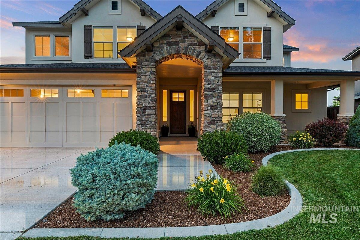 If you need bedrooms, this fantastic home located in coveted Paramount, is the one for you. With 8 bedrooms, 4.5 baths, 2 rec rooms, huge built in food storage, office/music room & 4 car garage, this home has it all. Steps to the elementary, middle & high schools, this home even has a full basement & dual HVAC. Beautifully maintained with new carpet & fresh paint, this hard to find NW Meridian home even has a NE facing backyard with views of Bogus Basin & no rear neighbors.  Parks, pools, ponds & paths too!
