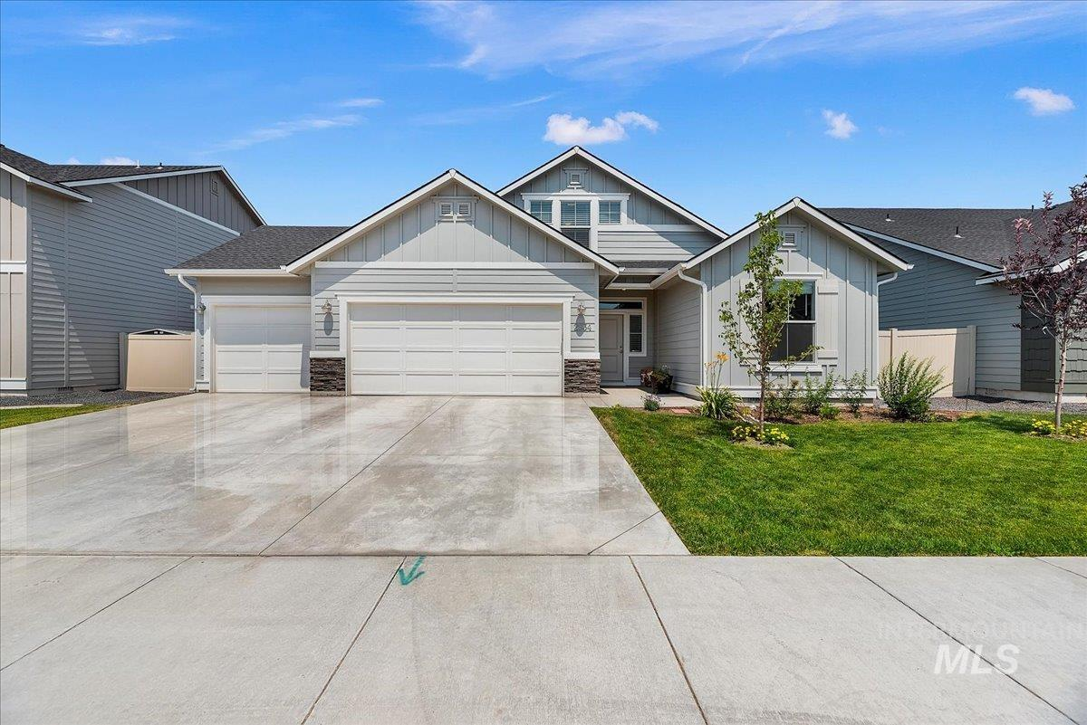 Better than NEW charmer in North Meridian! Single level living meets functionality in desirable split bedroom, open concept design. Just over 1800SF, this home has been gracefully lived in & includes generous living spaces, large upstairs bonus & 3-car garage. Bright kitchen w/pantry, large island, full tile backsplash, & SS appliances. Private backyard provides gorgeous sunsets!  Close to new Costco/Winco, schools, & parks. No backyard neighbors! Clean & ready for a Summer move - in. Don't miss it!