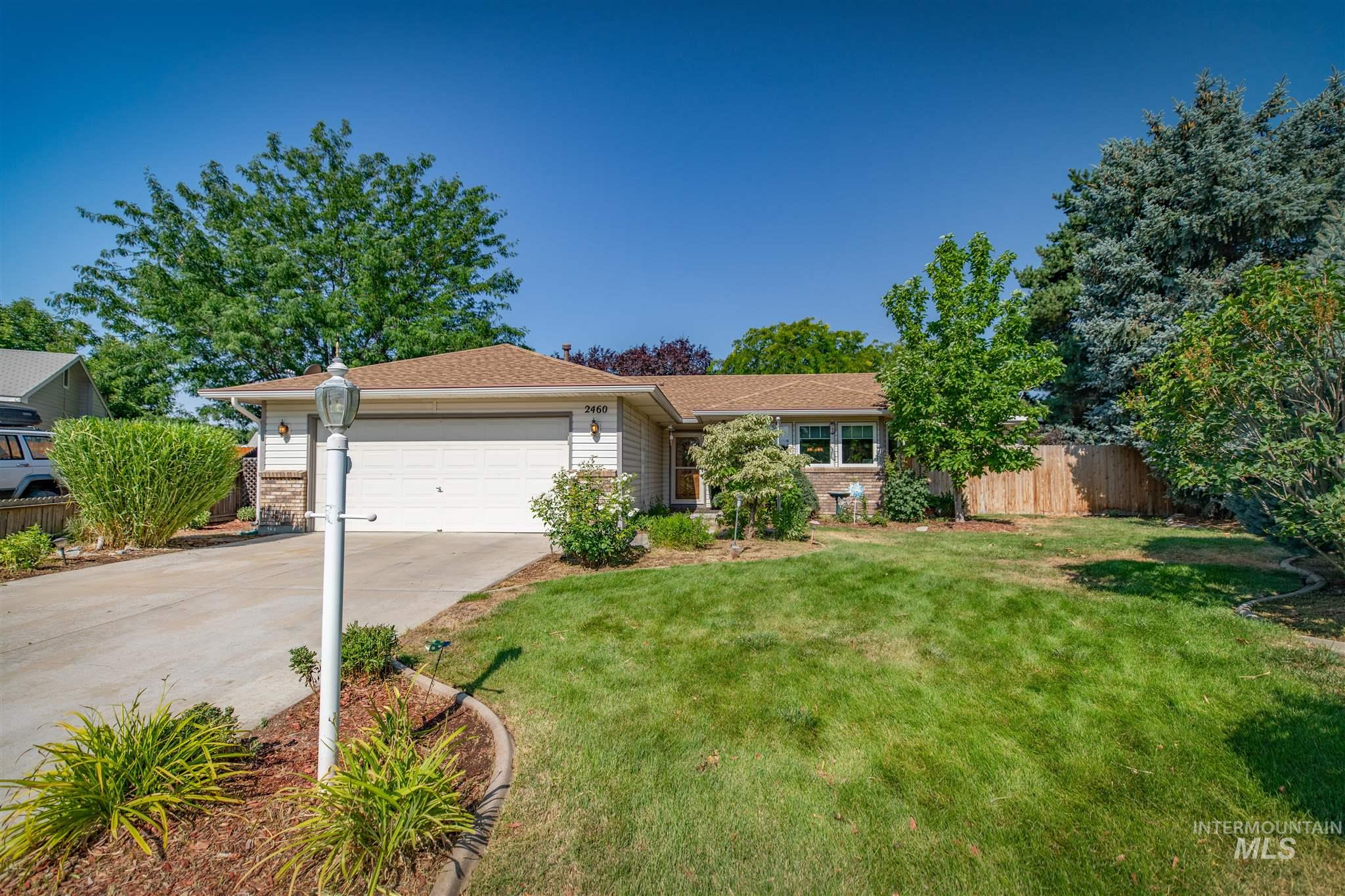 Welcome~Single Level Home in the Heart of Meridian Id. Sellers are 2nd home owners & have lovingly maintained the home. New roof in 2016, New AC unit, & Mstr Walk in shower, Anderson windows & doors. The Vaulted great room opens to the kitchen w/plenty of cabinets & counter space. The additional living room was an add on & has a gas fireplace. When you walk out the beautiful wooden doors to the back patio you step into an Oasis of landscaping & prior water features. (Easily revived). ALSO-no back neighbors.