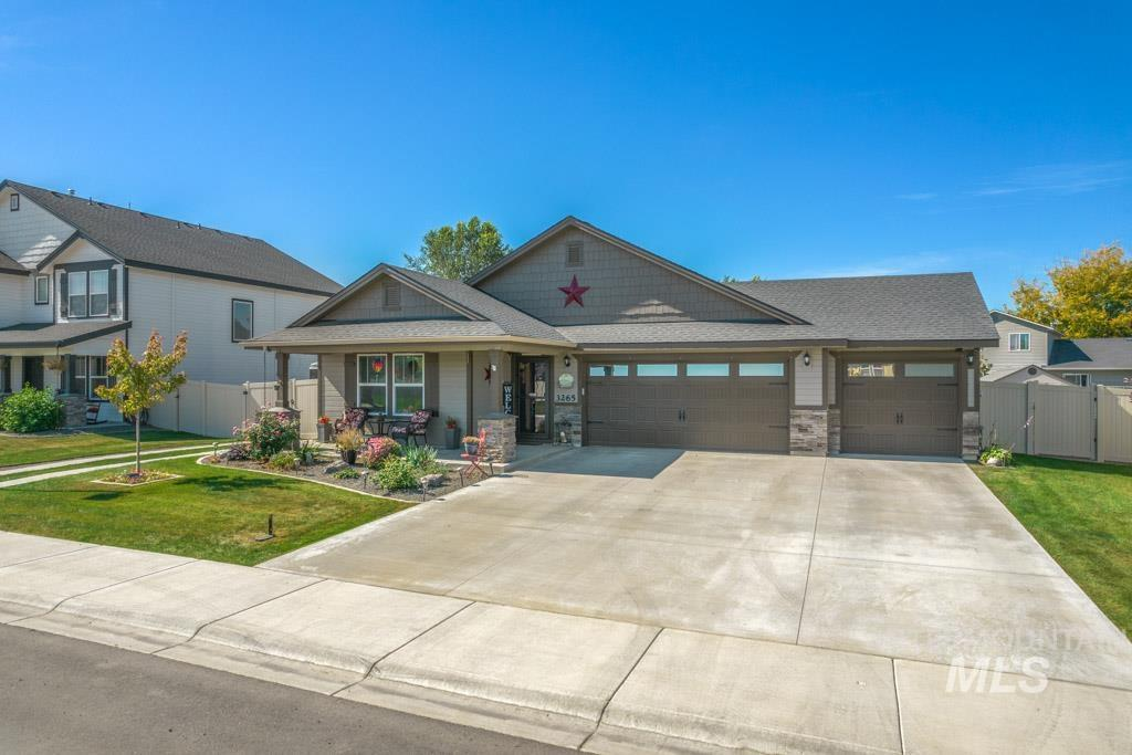 Better than new, lots of upgrades! This Energy Star home, built in 2020, w/HERS rating & HE furnace, is situated on one of the widest lots in the subd. Offers RV parking, plenty of space for play & gardening, and room to build extra storage/small shop. Both functional & inviting, this home features a great split-bedroom floor plan w/3 beds & a bonus room-all one level; LVP flooring in rich grey & brown tones; a fantastic great-room w/lofty ceilings, large windows, sliding glass door to the back patio w/BBQ gas stub out & pergola (included); white kitchen cabinetry w/warm glaze accent, granite counters & flattop breakfast bar island, gas stove, & pantry. Comfortable master suite accommodates a king size bed, offers a dual vanity, step-in shower, & W-I-C. Ceiling fans in all beds & bonus! RV parking area outfitted w/stamped concrete driving strips, 12ft reinforced gate, & 30 amp service. Beautifully landscaped - a couple doors down from the park - a total gem! - Jonathan Long, Voice: 208-697-7170, Genesis Real Estate, LLC, Main: 208-472-2330,