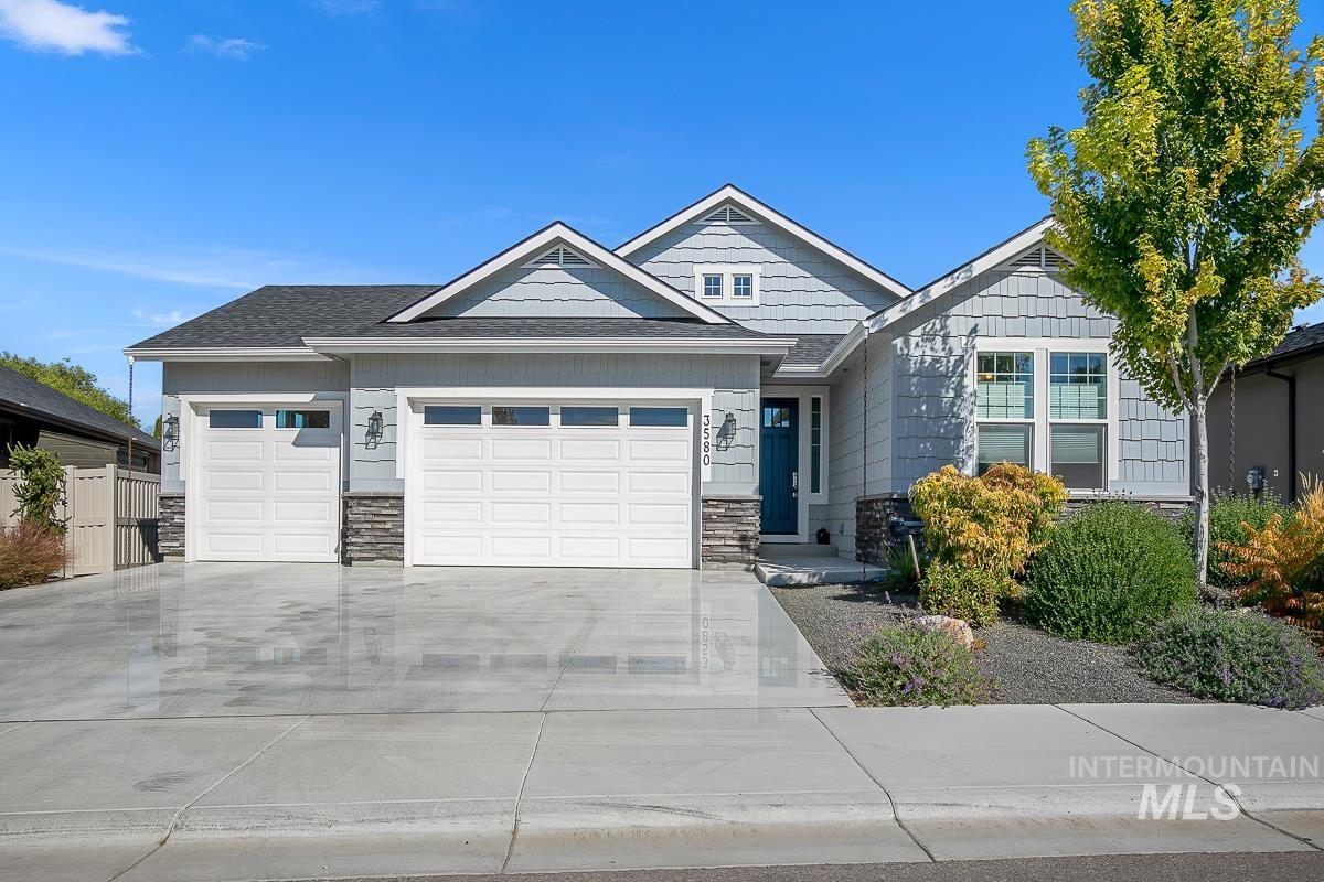 Welcome to Shelburne! Centrally located in South Meridian, just 7 miles to Boise Airport, 5 miles to the Village at Meridian, & even closer to YMCA, schools, & grocery.  This immaculate, meticulously cared for single level home is open for entertaining, yet has split bedroom for privacy.  Quality finishes in your large master suite with large walk-in shower and soaker tub, dual vanities.  A large chef's kitchen with island featuring quartz countertops, a five-burner gas range, double ovens and undermount microwave. Your guests will love the very comfy built-in Murphy Bed. Cat 5 wiring throughout, prewired for Coax cable, surround sound, indirect LED lighting in kitchen, bathroom & mantle. The desert xeriscaped front yard welcomes you with its aesthetics but also very low maintenance. The large covered back patio invites relaxation with hot tub, views, no back neighbors and gas line for the BBQ. 3 car garage with epoxy flooring and overhead storage racks. Don't wait to see this one! - Dan Canfield, Main: 208-297-3474, Accel Realty Partners, Main: 208-450-3000,