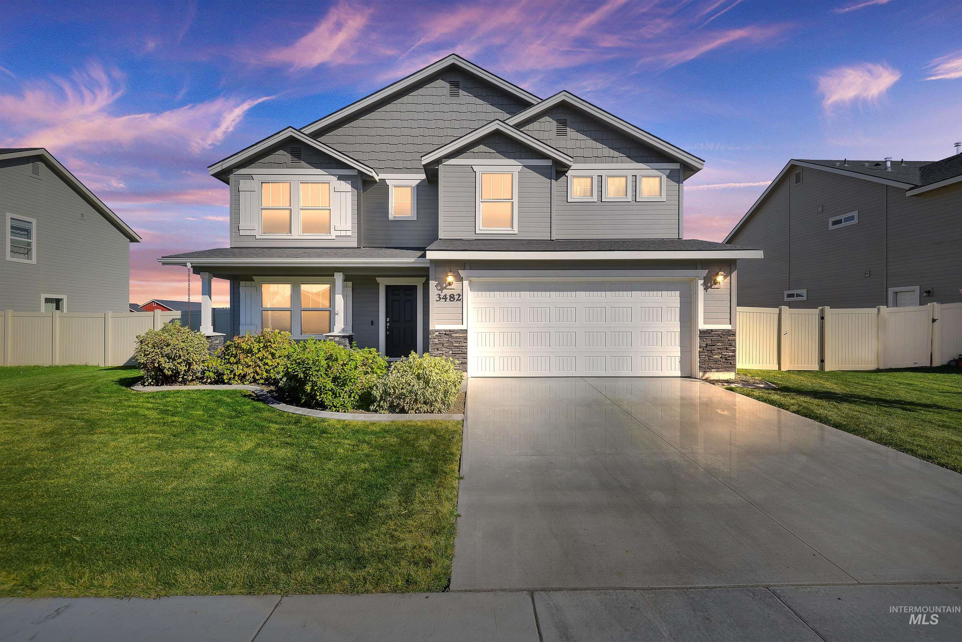 This beautiful GARNET floor plan HOME is only 2 years old and is located in a great, quiet neighborhood. The home has a large kitchen w/granite countertops, subway tile backsplash, island, pantry, and stainless steel appliances. Refrigerator is included! With a spacious main-level den, upstairs has a large loft/bonus room, 4 bedrooms, and laundry room. The large Master bedroom has a walk-in closet and dual vanities in the bathroom with a large soaking tub. Store all your extras in the unbelievable tandem 3 car garage. This home is HERS rated with annual energy savings! Ring doorbell also included! Open House 10/23 & 10/24 from 12-3pm. - Anabel Bentley, Main: 208-204-3860, Keller Williams Realty Boise, Main: 208-672-9000,