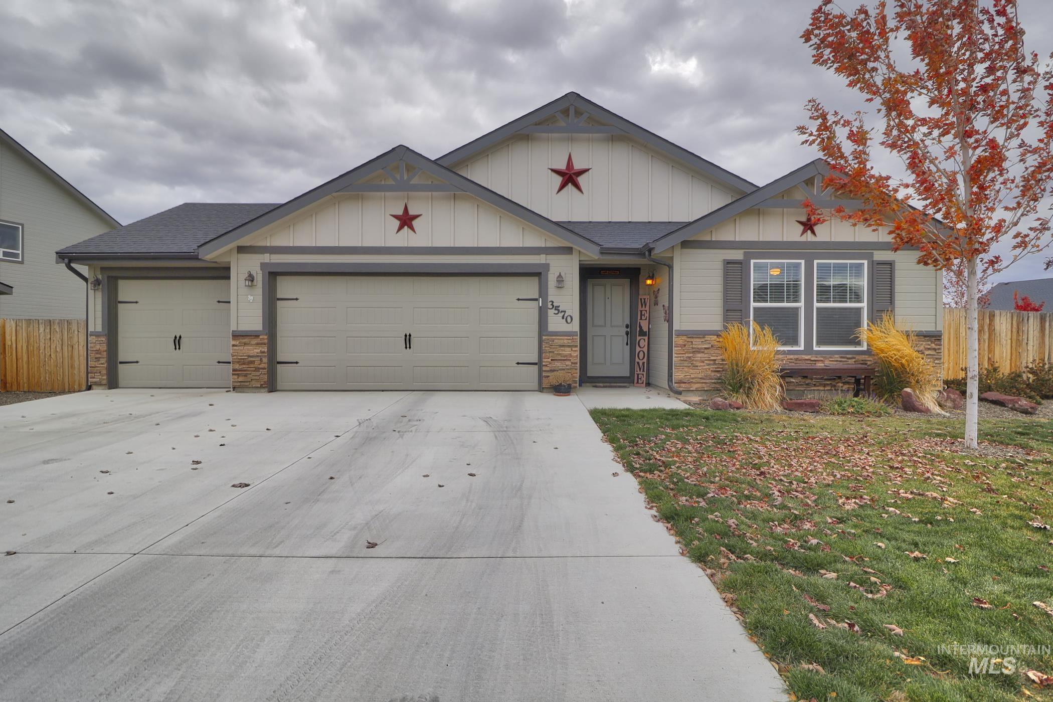 Corner Lot! Beautifully constructed, almost new 2007 sq ft, 3 bed, 2 bath with office/den, single level home with RV parking.  Granite countertops in kitchen wood laminate flooring throughout common areas. Large back yard with storage shed. 3 car garage plus extra deep workspace for all your projects, more like a 3 1/2 car garage. Built in 2018, this home is in like-new condition and ready for you. Call today for your private showing. The Crestwood Floorplan. - Thomas C Evans, Voice: 208-270-1957, Silvercreek Realty Group, Main: 208-377-0422, http://www.ehrrealtyidaho.com
