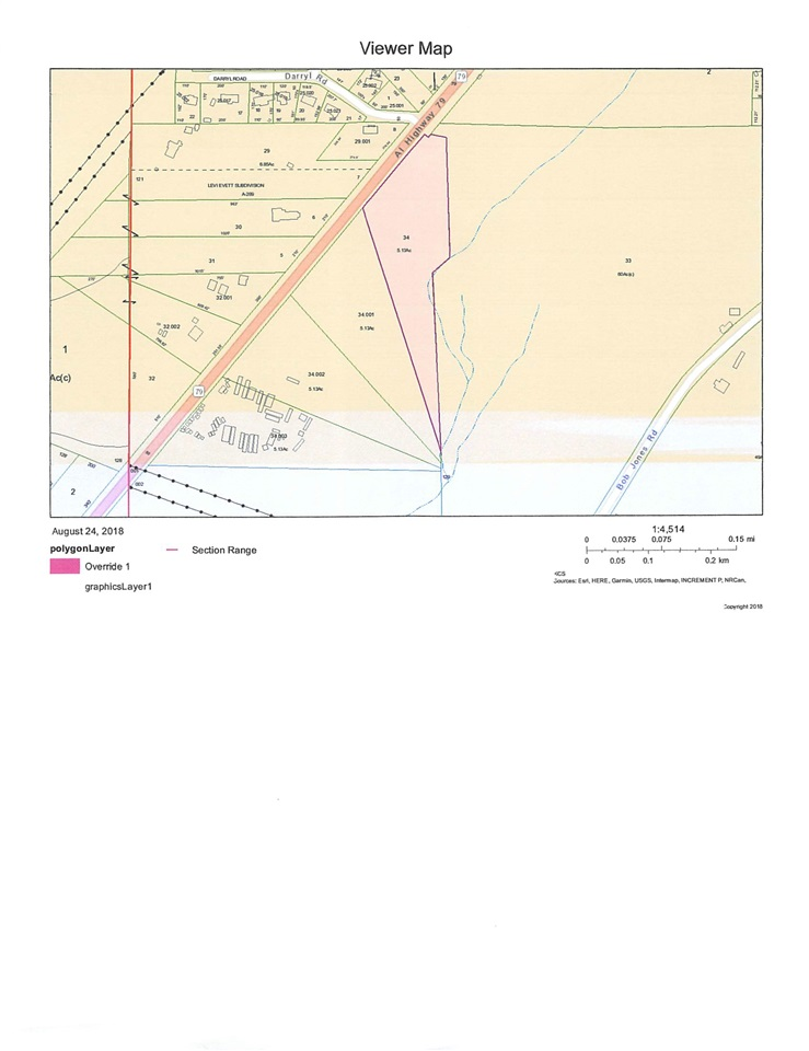 5 acres on highway 79 near the Goosepond Colony entrance. Wooded acreage, Great for any business development